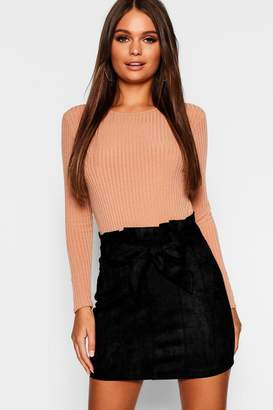 boohoo Paperbag Belted Suedette Micro Mini Skirt