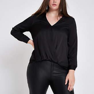 River Island Plus black wrap tuck front blouse