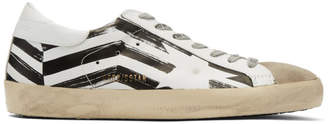 Golden Goose White and Grey Flag Superstar Sneakers