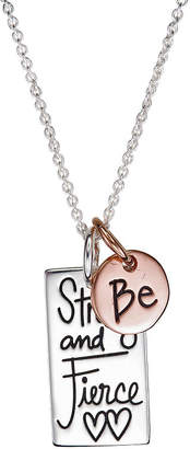 Footnotes Be Strong And Fierce Womens Sterling Silver Rectangular Pendant Necklace