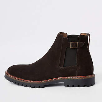 River Island Dark brown suede sprayed toe chelsea boots