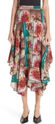 Stella McCartney Flower Vase Print Silk Midi Skirt