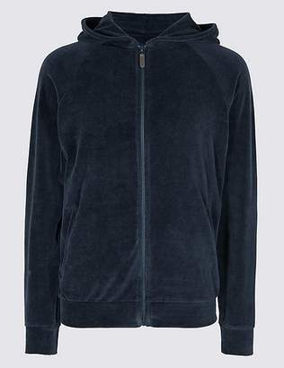 Marks and Spencer Cotton Rich Slim Fit Velour Hooded Top