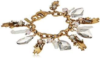 Badgley Mischka Leaf and Pearl Shaky Charm Bracelet