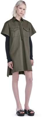 Alexander Wang Stretch Cotton Short Sleeve Collared Dress