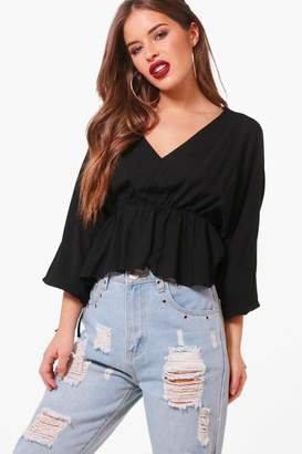 boohoo Petite Tiffany Gathered Waist Batwing Top