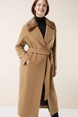 Next Womens Camel Signature Wrap Coat With Faux Fur Collar