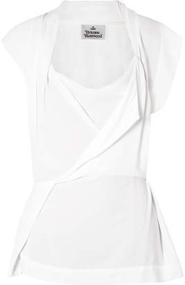 Vivienne Westwood - Grand Mirror Draped Crepe De Chine Top - Off-white