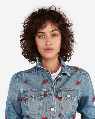 Express Floral Embroidered Denim Trucker Jacket