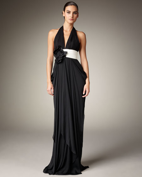 Notte by Marchesa Contrast-Waist Halter Gown