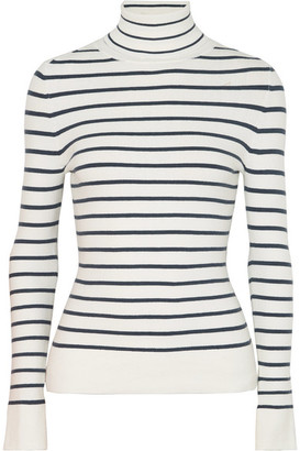 JoosTricot - Striped Stretch Cotton-blend Turtleneck Sweater - White