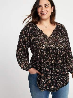 Old Navy Floral-Print Crinkle-Gauze Plus-Size Blouse