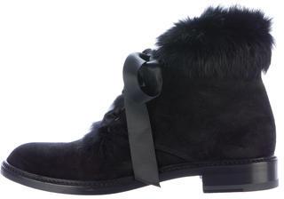 Saint LaurentSaint Laurent Fur-Trimmed Army Ankle Boots