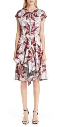 Calvin Klein Patchwork Print Silk Dress