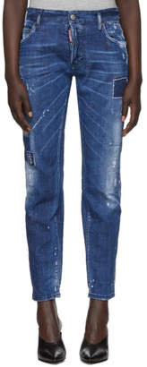 DSQUARED2 Blue Square Patch Boyfriend Jeans