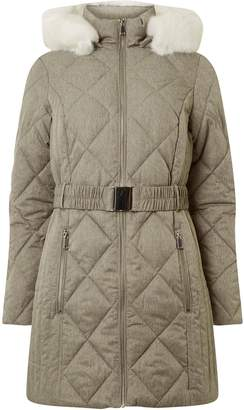 Dorothy Perkins Womens Grey Diamond Quilted Padded Coat