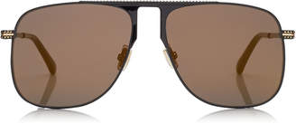 Jimmy Choo DAN Black Square Frame Sunglasses with Gold Mirror Lenses