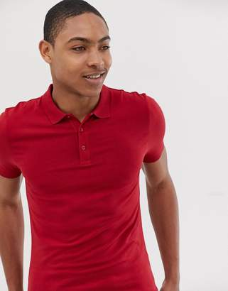 Asos Design DESIGN muscle fit jersey polo in red