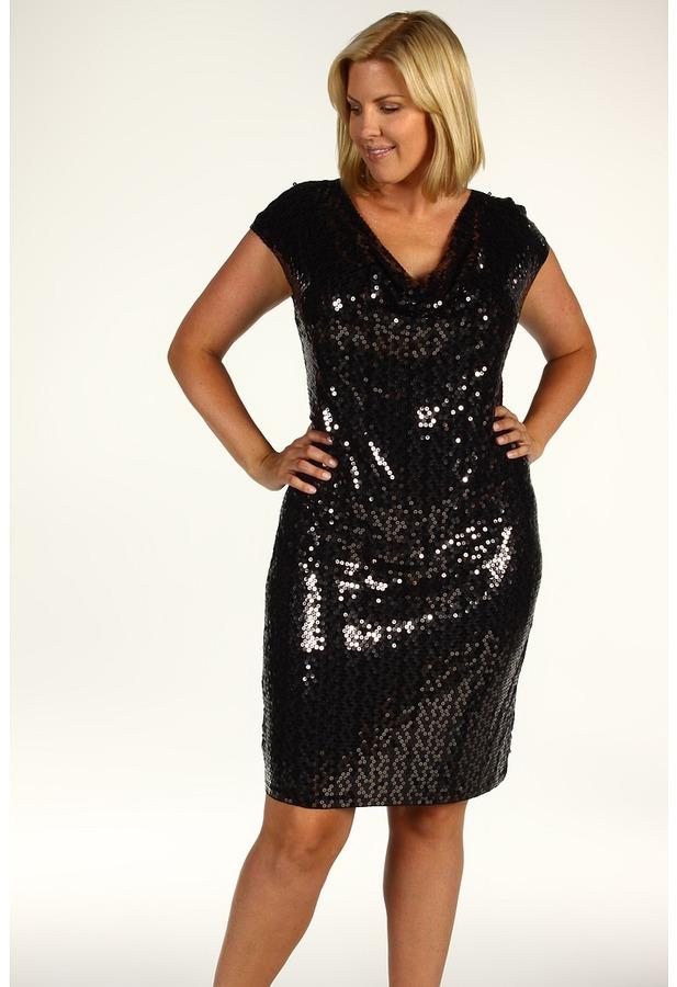MICHAEL Michael Kors Plus Size Cap Sleeve Abstract Camo Sequin Dress (Black) - Apparel
