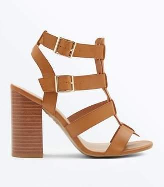 275e79904d8 New Look Tan Wooden Block Heel Gladiator Sandals