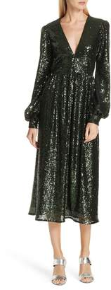 Saloni Camille Sequin Midi Dress