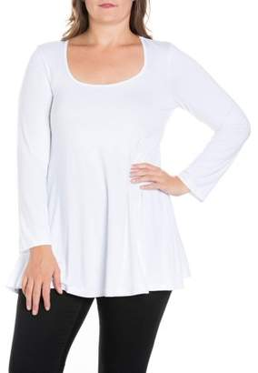 24/7 Comfort Apparel 24seven Comfort Apparel Long Sleeve Swing Plus Size Tunic Top
