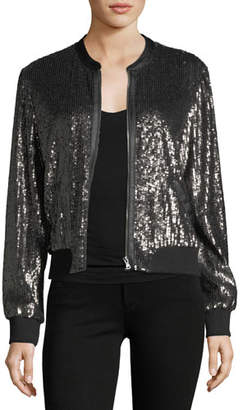 Paige Zaylee Zip-Front Sequined Bomber Jacket