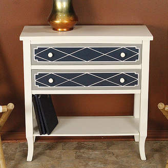 Heather Ann Heirloom White/Blue 2 Drawer Accent Chest