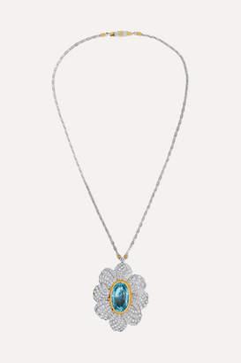 Buccellati 18-karat White And Yellow Gold, Aquamarine And Diamond Necklace