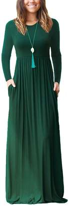 Ourfashion Women Long Sleeve Round Neck Casual Loose Long Maxi Dress with Pocket