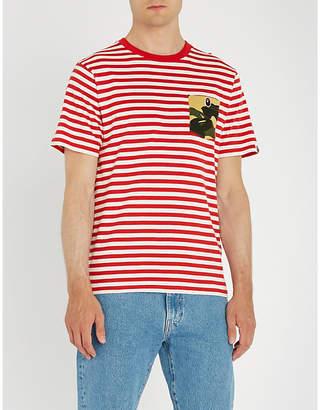 A Bathing Ape 1st camo-pocket striped cotton-jersey T-shirt
