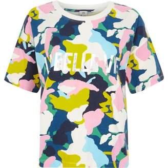 River Island Blue multicolored camo print T-shirt