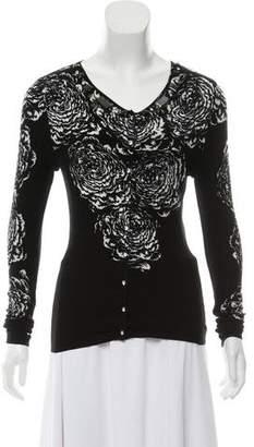 Blumarine Embellished Floral Print Cardigan