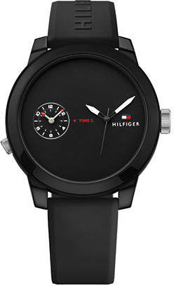 Tommy Hilfiger Black Chronograph Rubber Strap Watch