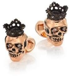 Tateossian Topaz 18K Rose Gold Plated Skull Cuff Links