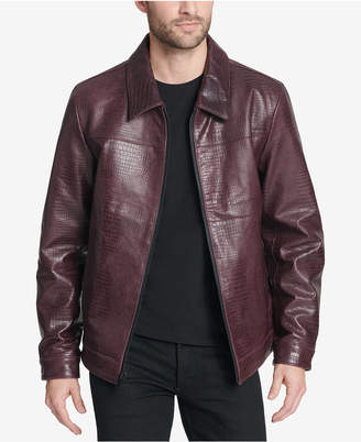 DKNY Men Leather Croc Jacket