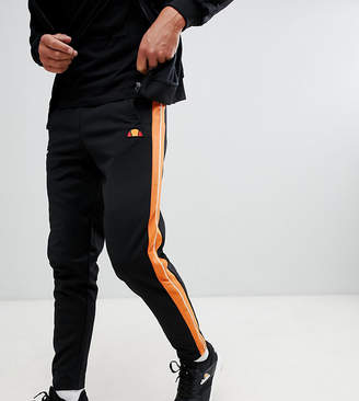 Ellesse Straight Leg Joggers With Side Stripe And Piping In Black