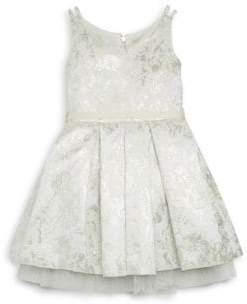 Zoë Ltd Girl's Ella Feather Trim Brocade Dress