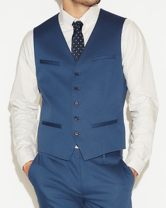 Express Blue Cotton Sateen Suit Vest