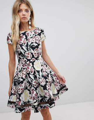 French Connection Floral Jacquard Skater Dress