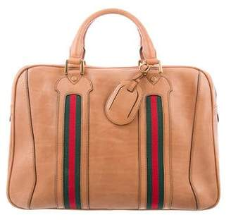 Gucci GG Web Leather Weekender