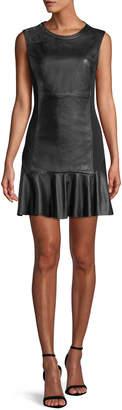 Tanya Taylor Marcel Sleeveless Leather Flounce Short Dress