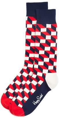 Happy Socks Men's Filled Optic Cube Socks $12 thestylecure.com