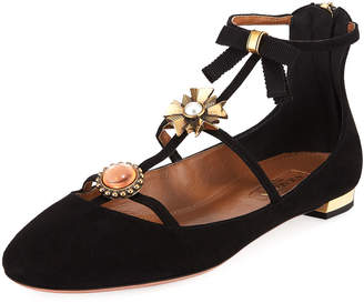 Aquazzura Pandora Suede Ornament Ankle-Wrap Ballet Flats