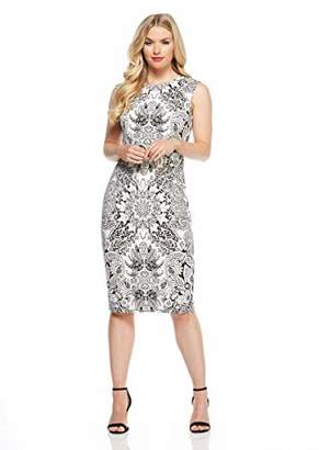 London Times Women's Cap Sleeve Round Neck MIDI Sheath Dress