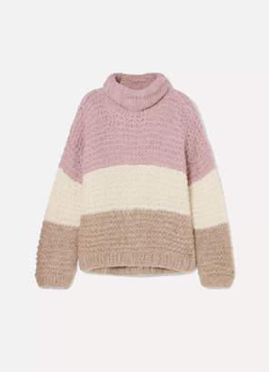 Apiece Apart Convertible Striped Ribbed Alpaca-blend Sweater - Pink
