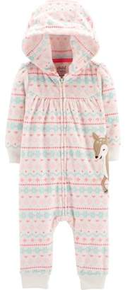 Carter's Child of Mine by Hooded Long Sleeve Footless Fleece Romper (Baby Girls)