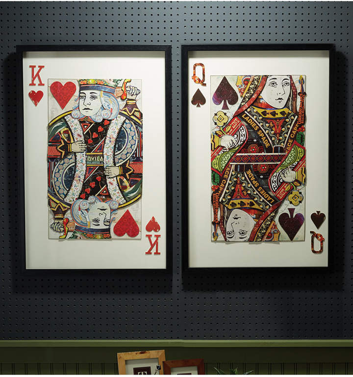 Two's Company Play Your Cards Right Set of 2 Playing Card Paper Collage Wall Art Includes 2 Designs - King and Queen