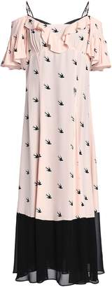 McQ Cold-shoulder Chiffon-paneled Printed Crepe De Chine Midi Dress