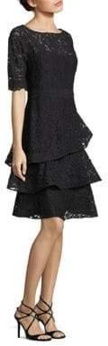 Teri Jon by Rickie Freeman Lace Tiered Ruffle Dress
